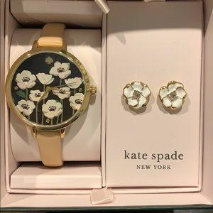 NWT Kate Spade Poppy Metro Watch & Earring Set